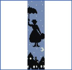 Poppins (personal design) 3 colors only, bead PEYOTE Pattern (even count stitch peyote pattern for bracelet, cuff) Mary Poppins personal design 3 colors only bead PEYOTE Mary Poppins, Skins Minecraft, Minecraft Pixel Art, Cross Stitch Bookmarks, Counted Cross Stitch Patterns, Peyote Patterns, Beading Patterns, Art Hama, Beaded Banners