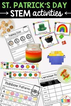 These St. Patrick's Day STEM Challenges are a must-try! The set is perfect to use in STEM centers, math stations or as early finisher tasks. Students will love to build Irish objects out of LEGOS, help leprechauns carry gold across the water, learn about buoyancy, using common kitchen supplies to make chemical reactions, and creating Skittles patterns. And, to help you track students' growth, all five STEM challenges include record sheets to help kids keep track of their answers! Spring Activities, Teaching Activities, Stem Activities, Activities For Kids, Math Stem, Stem Science, Preschool Science, Playdough To Plato, Stem Learning