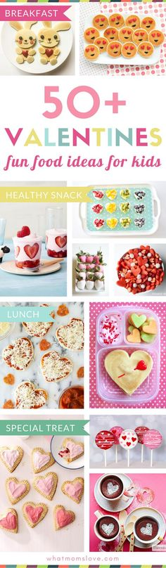 Fun Valentines Day Food Ideas for Kids | Cute recipes to make for families including Valentine breakfast, lunch, healthy snacks, sweet treats and desserts. Lots of cute ideas for children to bring into their school classrooms to share with friends too!