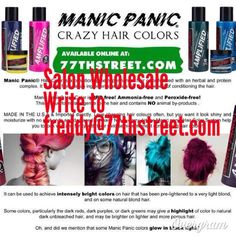 Grab your Crazy Hair Colors Manic Panic at www.77thstreet.com  Wholesale orders for Salons & Retail  Write to freddy@77thstreet.com