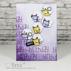 Mit Herz und Schere: Geburtstags-Karte mit Monstern (Mama Elephant)
