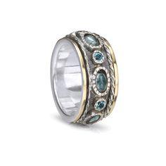 FidgetFidget Natural Sapphire White Topaz Trendy 925 Sterling Silver Stud Earrings 16mm