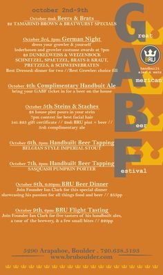 It's going to be a fun #GABF week! Join us @Alex Breuer from October 2nd to the 9th for daily events, specials, and good #craftbeer!