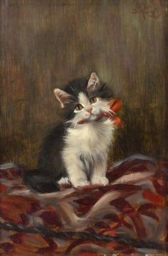 Benno Kogl, his real name, Benedikt German) mainly painted still lifes and cats. Because of his love of painting cats he was nicknamed Katzen-Kogl or Cat Kogl. I Love Cats, Crazy Cats, Cute Cats, Image Chat, Cat Cards, Vintage Cat, Cat Drawing, Animal Paintings, Cats And Kittens