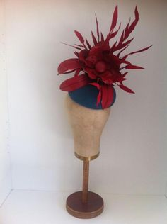 cf1d4d75ec17a Teal Fur Felt   Red Leather Headpiece by Murley   Co Millinery