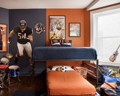 Accessories & furniture,Contemporary Kids Bedroom With American Football Wall Mural Feat Iron Loft Bed Complete With Blue Navy And Orange Bedding Set Combine Oak Wooden Flooring Feat Black Fur Rug Area Ideas,Interesting Football Wall Murals Design Ideas