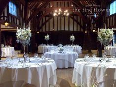Great Fosters winter wedding flowers in the Tithe Barn