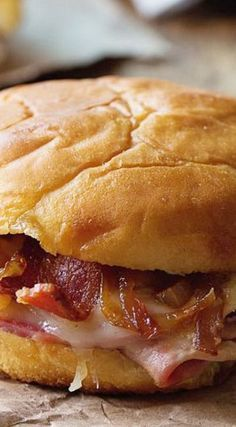 Hot Ham and Cheese Sandwiches with Bacon and Caramelized Onions *