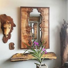 horse pattern Live Edge Showroom//Natural Wood Art//Artisan Rustic Home Decor//Whitehouse Station NJ . This scene has quite a lot to take in, but it's all good! There is a handcarved c Wood Mirror, Metal Wall Art, Wood Art, Mirror Mirror, Mirror Ideas, Live Edge Furniture, Art Furniture, Natural Wood Furniture, Furniture Design