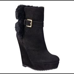 "Nine West platform bootie Black platform bootie with faux fur and buckle detailing. Suede upper.  Wedge 5"".  Platform 1"".  Worn once. I do not have the original box. I usually wear a size 9 but had to get a 9.5. Nine West Shoes Platforms"