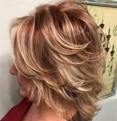80 Best Modern Hairstyles and Haircuts for Women Over 50 Shorter Feathered Red and Blonde Hairstyle Medium Hair Cuts, Short Hair Cuts, Short Pixie, Easy Hair Cuts, Medium Cut, Modern Hairstyles, Cool Hairstyles, Trendy Haircuts, Feathered Hairstyles