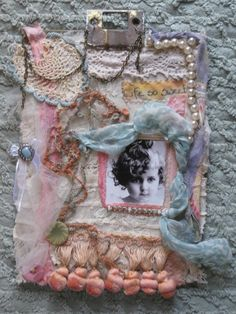 LIFE SO SWEET Shabby Fabric & Fiber Collage by GenieHarlow on Etsy, $58.99