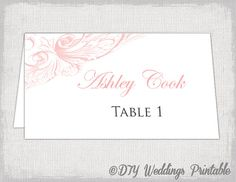wedding place card template pink diy by diyweddingsprintable