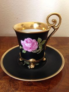 Black and gold rose tea cup and saucer Tea Cup Set, My Cup Of Tea, Tea Cup Saucer, Teapots And Cups, Teacups, Royal Tea, China Tea Sets, Tea Service, Tea Accessories