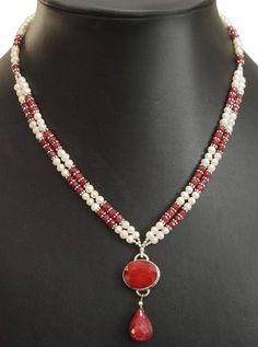 Two Row African Ruby Gemstone Necklace With Pearls, Free Dangler earrings,Birthday Gift,Pearl Jewelry,Ruby Jewelry,Gemstone Necklace ******************************************************************** *Stone : freshwater pearls and rubies *Origin-African rubies * size of pearls - 3mm *