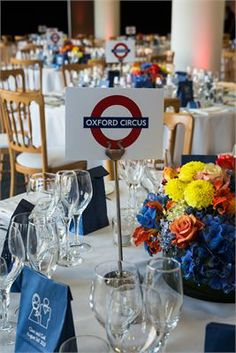 London table centres for a Central London venue - Kings Place