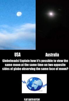 The Moon ftom USA & Australia at the same time. One is bigger & in daylight, the other pic is smaller & farther away & at night