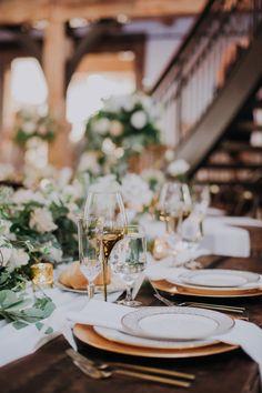 Wedding Table Setting with Greenery