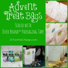 Make DIY Advent Treat Bags sealed with #EZStart Packaging Tape from Duck Brand!