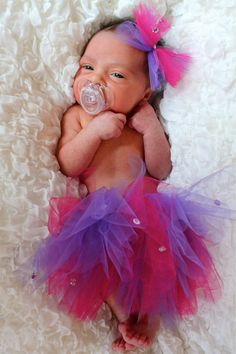 I made this tutu and hair piece for my newest granddaughter and model, Liliana.