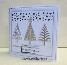 Stampin Up festival of trees and confetti star punch Christmas Card Crafts, Stampin Up Christmas, Christmas Cards To Make, Handmade Christmas, Holiday Cards, Star Cards, Embossed Cards, Card Tutorials, Stampin Up Cards