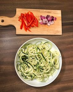 """What's for dinner?? I'm thinking """"veggie"""" noodles tossed with sautéed shrimp. . This is the veggie half of my dinner. All finished prepping ...  """"Veggie"""" noodles aka zucchini Red Bell pepper Red onion . Now to start peeling the shrimp!!  . #grilltotable #lehighvalley #fresh #wholefood #eatclean #cleaneating #fit #fitfood #organic #yummy #delicious #mealprep #protein #meals #spicy #paleo #diet #lowcarb #flavor #instagood #seasoning #grill #Thursday #love #healthyeating #veggies"""