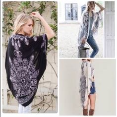 Cocoon Kimono Shawl Cardigan OSFM see original listing for details Nwot mocha with ️black print or ️black with white print also one wine left . soft light weight kimono style cardigan shawl great layering piece and best seller one size will fit XS through XL Vivacouture Accessories Scarves & Wraps