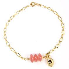 Pink Gemstone Bracelet Personalized Gold Chain