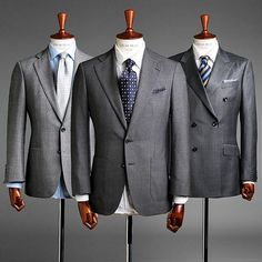 Which grey would you take? The grey suit is perfectly versatile for all year round. Wear with white or softer coloured shirts and let your accessories reflect the season/occasion! #oscarhunt #oscarhunttailors #oscarhuntexperience #menswear #sartorial #dapper #mensclothing #guyswithstyle #gq #Suit #tie #blazer #mnswr #menwithclass #menwithstyle #mensfashion #melbournefashion