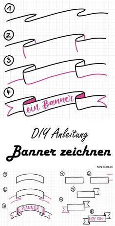 Letter Lovers: myfancyletters zu Gast im Lettering Interview Learn how to easily draw different banners with this guide. Enhance your hand lettering with a banner and highlight certain words or sentences. Banners always go. Bullet Journal Banner, Bullet Journal Writing, Bullet Journal Notes, Bullet Journal Aesthetic, Bullet Journal School, Bullet Journal Ideas Pages, Bullet Journal Inspiration, Book Journal, Art Journals