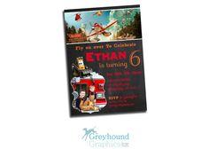 Planes 2 fire and rescue Chalk birthday invitation invite Disney Disney's dusty Boy boy's plane red Chalkboard Card Printable Invitation