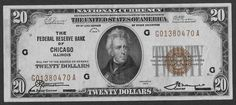 + 1929 Jackson $20.Federal Reserve Bank of Chicago Brown Seal Beautiful Note
