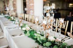 Floral Garland as Table Centerpiece by Fairbanks Florist - Elegant Wedding at Orchid Garden - Downtown Orlando Wedding - Photo: SO Photography - Orange Blossom Bride - Click Pin for More - www.orangeblossombride.com
