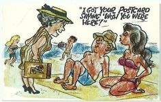 I Got Your Postcard Saying Wish You Were Here Vintage Postcard humor comedy