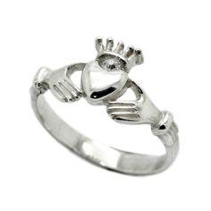 Kladdakh Heart and Crown Women's Ring with Zircons 925 Silver, Sterling Silver Rings, Irish Rings, Dragon Ring, Claddagh Rings, Black Enamel, Rings For Men, Wedding Rings, Crown