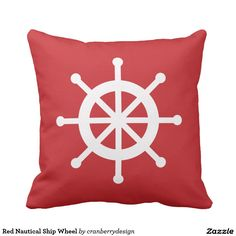 Red Nautical Ship Wheel