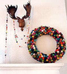 felted ball wreath