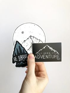 Adventure Sticker Pack by Dear Summit Supply Co. || Be Brave arrowhead sticker + Seek Adventure Mountain sticker + Mountain and Moon sticker, and hand-drawn and made with weatherproof vinyl that you can stick on your car, water bottle, laptop, or just about anywhere else! Perfect way to show off your love of the outdoors and adventure!
