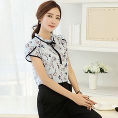 Plus Size 2017 Summer Women Short Sleeve Chiffon Tops Floral Print Blouse Ruffled Collar Bow Neck Shirt Petal Blusas Femininas #Affiliate