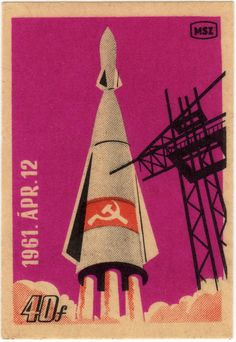 vintage  Russian Space Stamp c. 1961