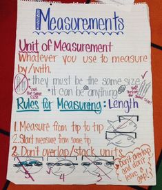 Non-standard units of measurement anchor chart for kindergarten or first grade. Pardon the mess! Did this one with the kiddos last year and never got a chance to re-make it to look neater.