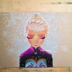 My finish artwork of Queen Elsa from Disney Pixar Frozen. Done in prismacolor colored pencils, white pen and pan pastel. The art paper is skin tones.