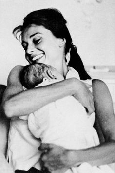 Audrey Hepburn pictured with her husband, Mel Ferrer and new born baby, Sean…