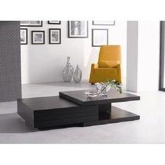 Black Coffee Table Wooden Storage Shelves Drawers Modern Living Room Furniture