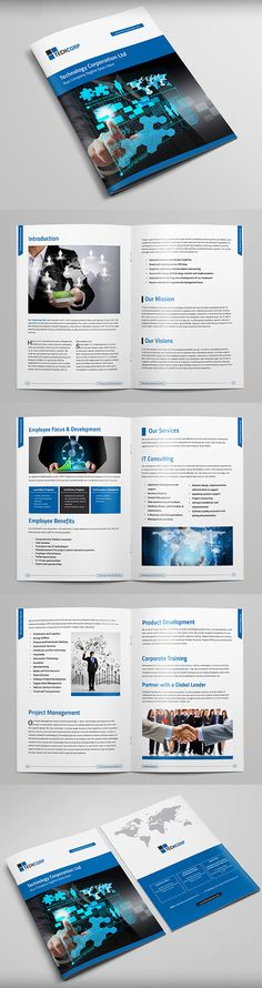 Technology Brochure Template #booklet #brochuredesign #brochuretemplates #catalogdesign
