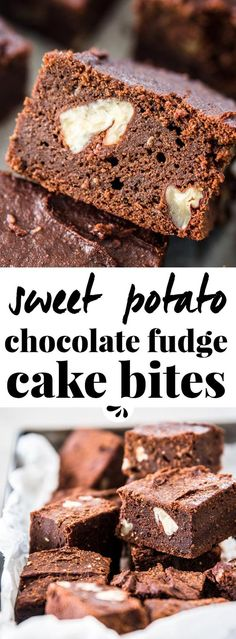 Are you looking for a healthy treat to indulge in? This vegan and gluten free sweet potato chocolate fudge cake bites are just what you need. Enjoy them with a glass of red wine with your best friend. Made with healthy ingredients they taste adult, rich and indulgent, with a slight sweetness and the characteristic bitterness of cocoa and dark chocolate. They are like a cross between cake and brownies, cut into small squares for this simple yet sophisticated eggless recipe. via…