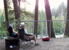 Relaxing at the campsite after a longer than planned hike. Everyone is toast.