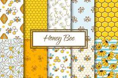 Honey Bee Seamless Vector Patterns Digital Paper Pack