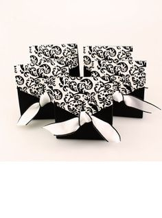 Ivory And Black Flourish Favor Boxes With Ribbons (Set of 12)