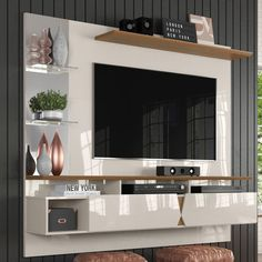 Painel para TV Intense Lukaliam Off White / Damasco - Magazine Aldreaevoce *consulte frete pelo cep Modern Tv Room, Modern Tv Wall Units, Tv Unit Decor, Tv Wall Decor, Tv Cabinet Design, Tv Wall Design, Indian Living Rooms, Home And Living, Sala Indiana